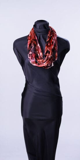 Hot Reds Silk Infinity Scarf