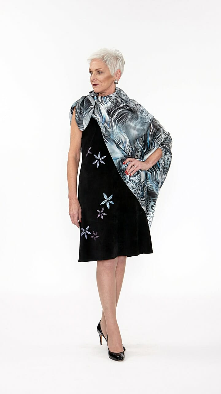 Cheetah And Stripe Collide Square Silk Scarf