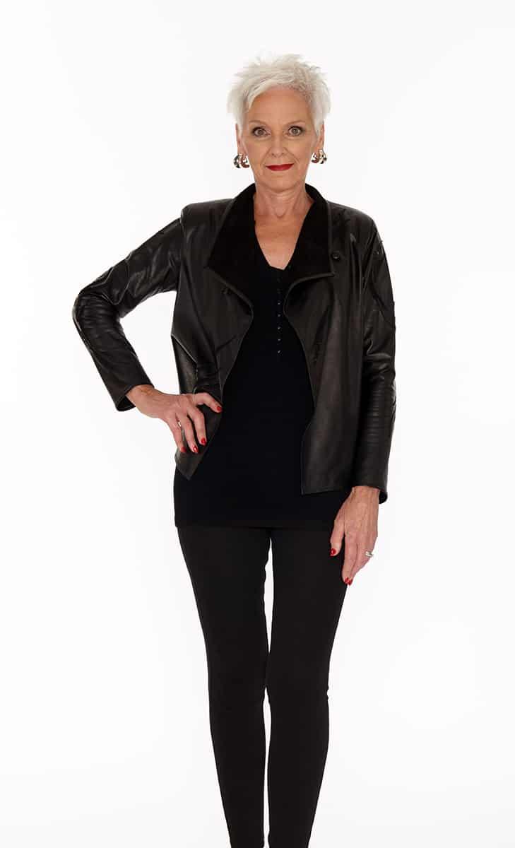 Short Draped Genuine Leather Jacket