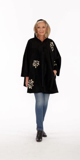 Black Genuine Suede Circle Cape with Ecru Lamb Leather Hood