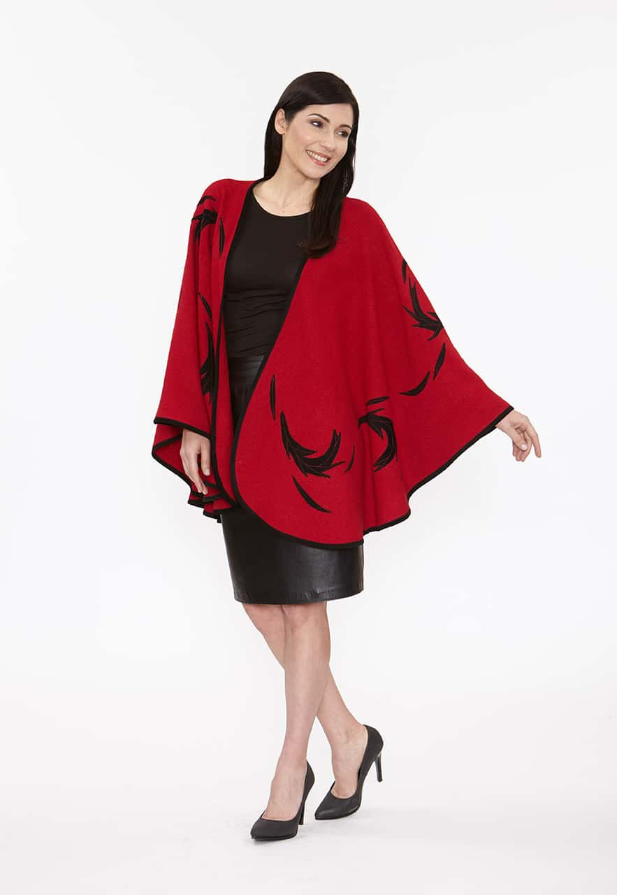 Red Wool Flinging Cape