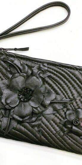 Leather Wristlet With Handmade Leather Flower
