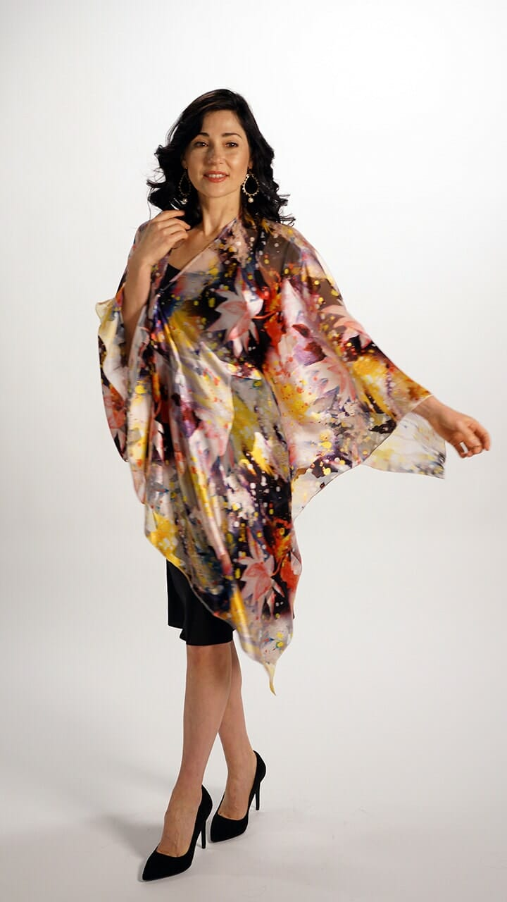 Silk Poncho Top In Starburst Pattern