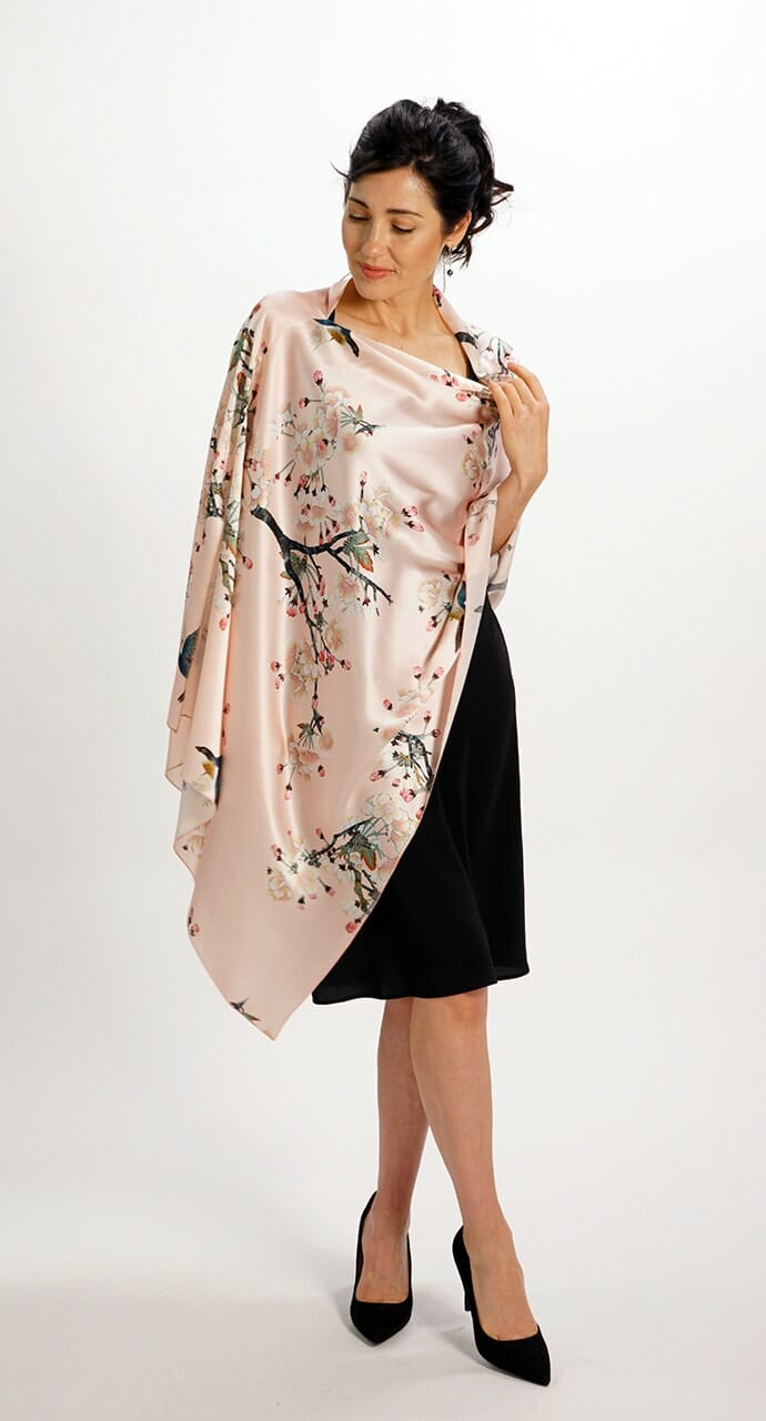 Apple Blossoms Silk Scarf Rectangle Top