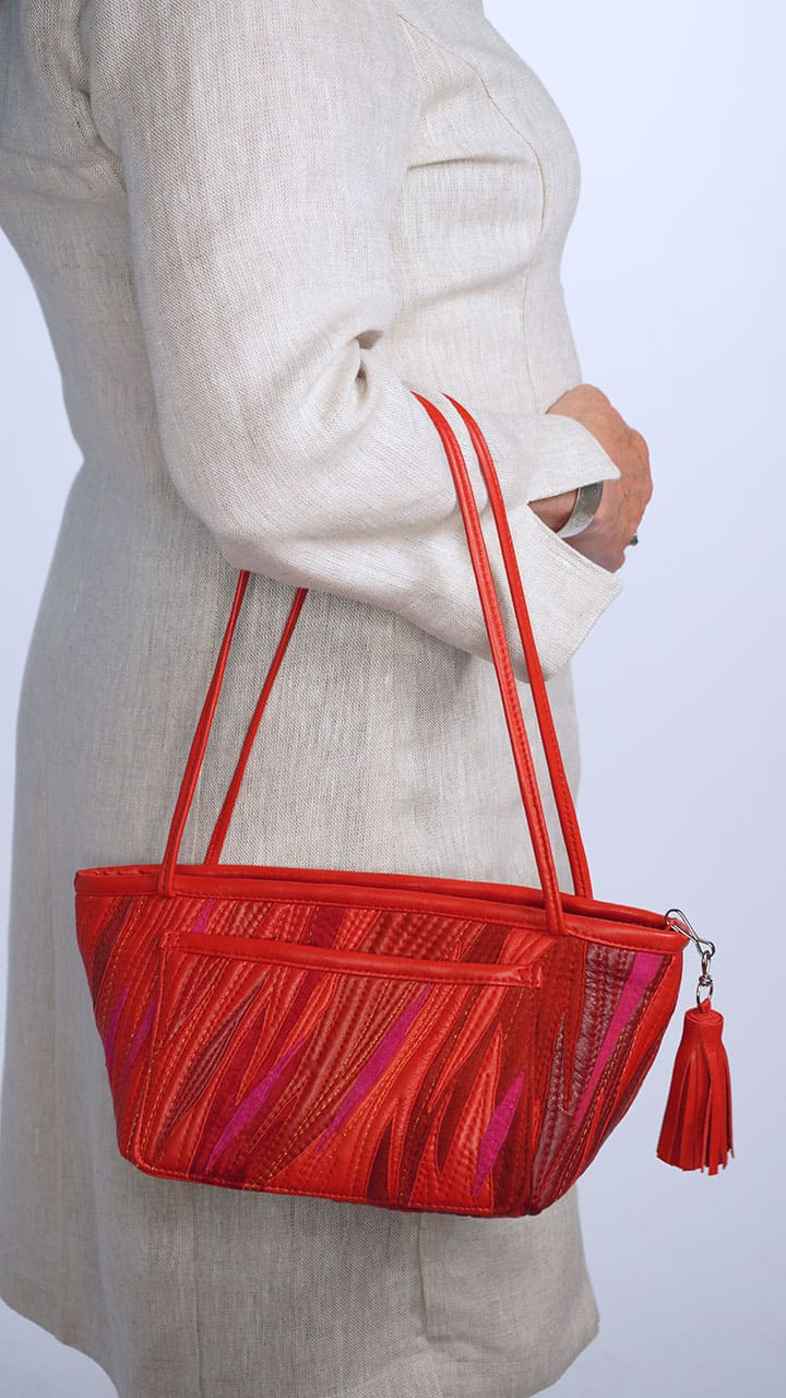 Tiny Tote Leather Suede Collage in Red