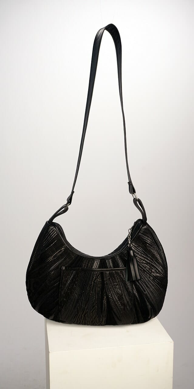 Genuine Leather Half Moon Bag with Collage Appliqué in Black