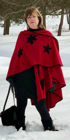 Scarlet Red Wool Flinging Cape with Suede Appliqué Flowers