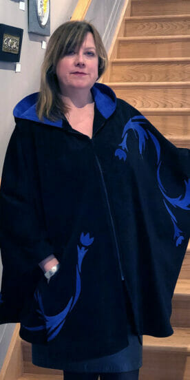 Black Suede Circle Cape with Hood and Suede Tulip Swirling Leaves Appliqué