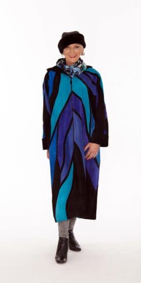 Full Length Dolman Sleeve Genuine Suede Coat