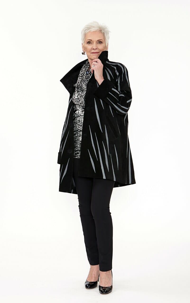 Easy Fit Car Coat Genuine Black Suede with Zebra Swirl Appliqué in Medium Grey Leather