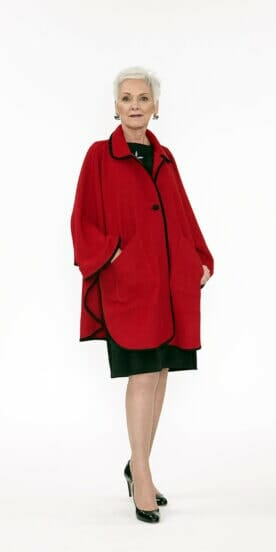 Wool Coat-Cape in Red