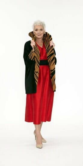 Easy Fit Cocoon Coat Genuine Black Suede with Zebra Appliqué in Cognac Suede