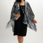 Silk Square Kimono Style Top Cheetah and Stripes Collide