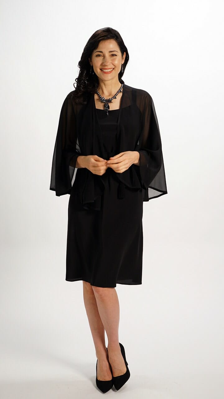 Silk Capelet in Black Chiffon