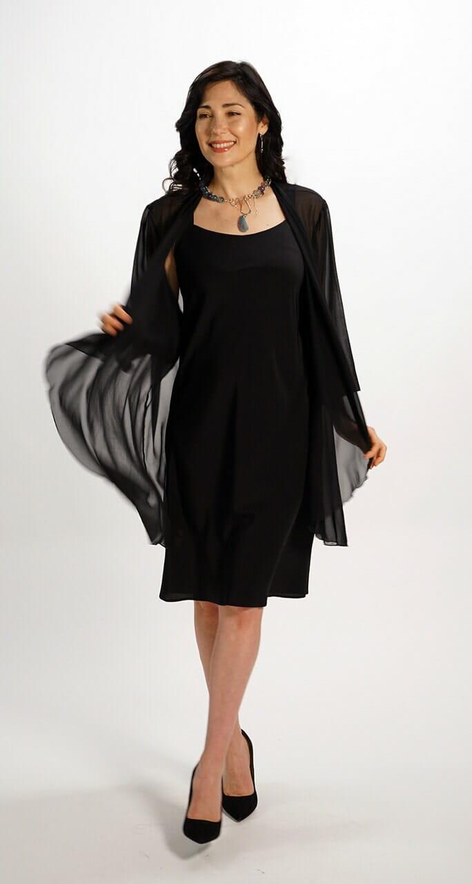 Silk Long Draped Top in Black Chiffon