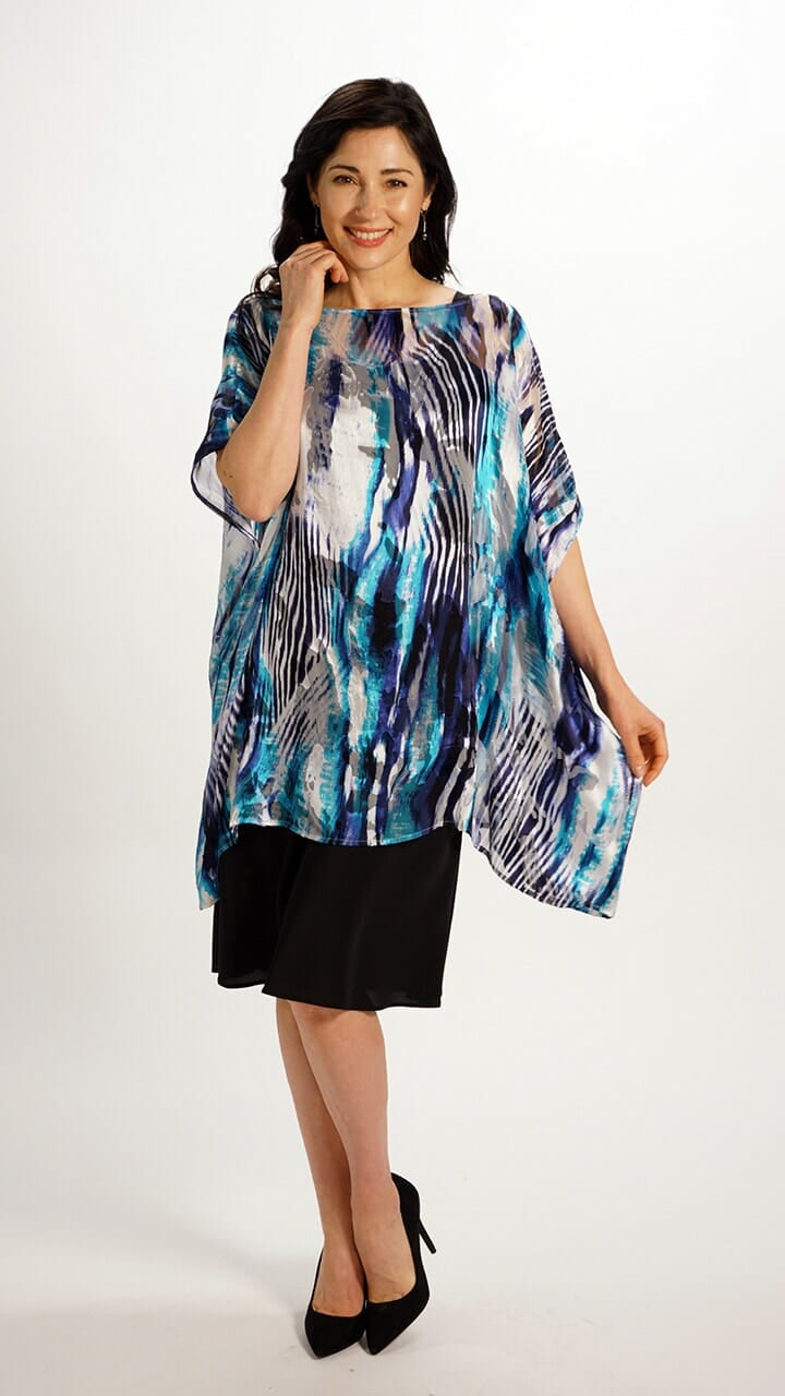 Silk Poncho Top in Water Flow