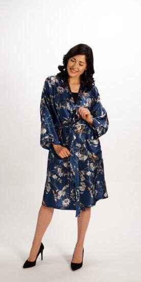 Kimono Robe in Pure Silk Blue Bird