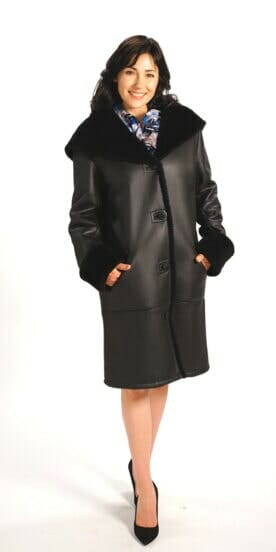 Genuine Spanish Lamb Shearling Coat in Black