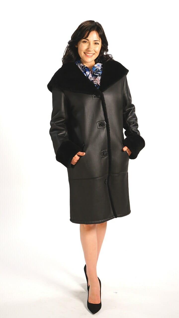 Genuine Spanish Lamb Shearling Coat in Black