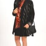 Genuine Black Suede Easy Fit Car Coat in Zebra Appliqué