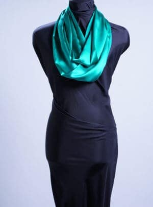Emerald Silk Charmeuse infinity Scarf