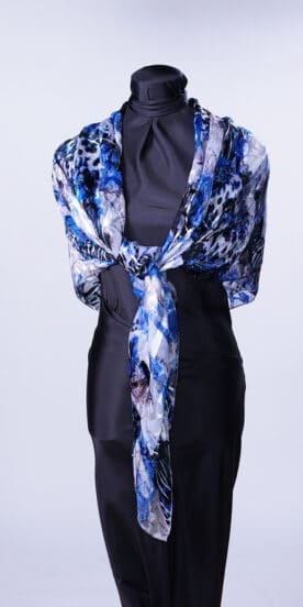 Mediterranean Blue Square Silk Scarf