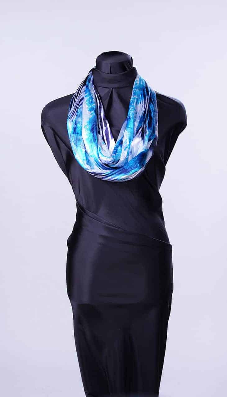 everyone suits the many shades of blue in this digital burnout print.