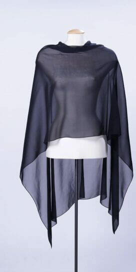 Black Silk Georgette Scarf Rectangle Top