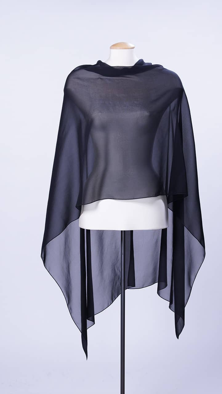 Black Silk Georgette Scarf Rectangle Top
