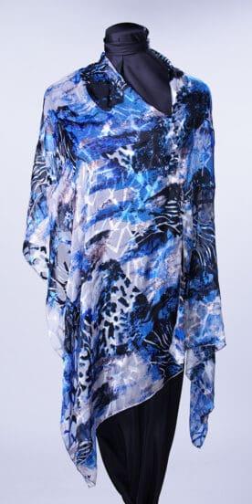 Mediterranean Blue Rectangle Scarf Top