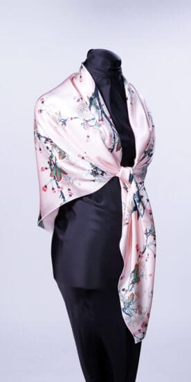 Apple Blossoms Pink Square Silk Scarf