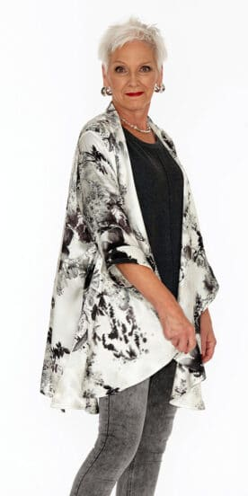 Draped 100% Silk Jacket Japanese Brushstroke