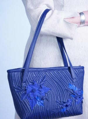 Everyday Tote with Quilt Design and Handmade Flowers