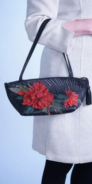 Tiny Tote with Quilt Design and Handmade Flowers
