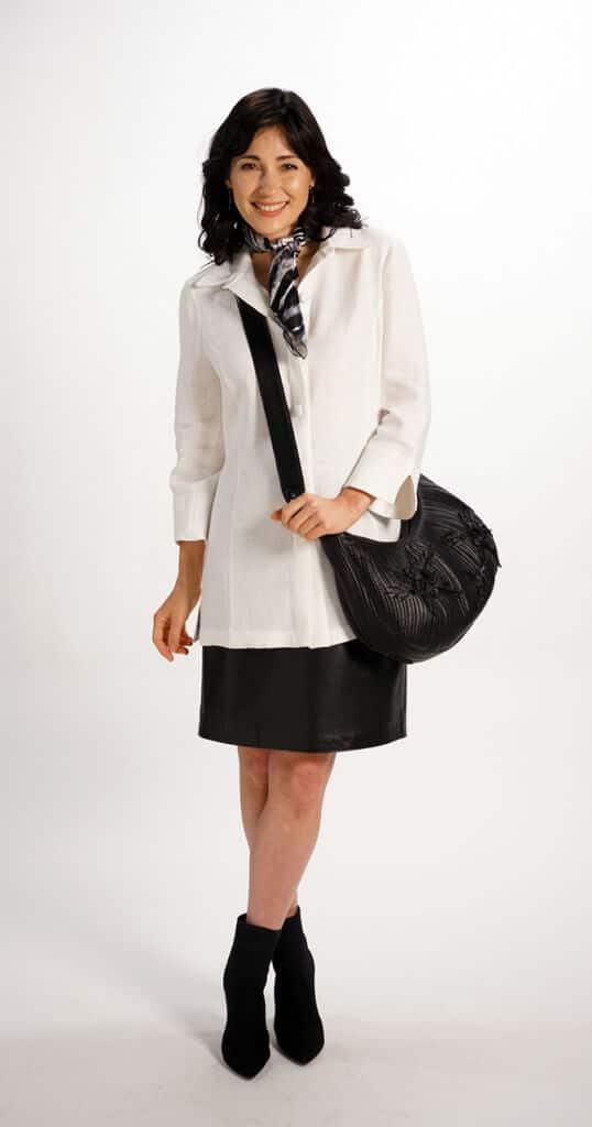 Half Moon Bag with Quilt Design Handmade Flowers in Black