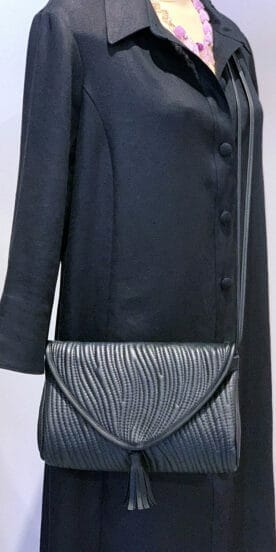 Rectangle Leather Envelope Bag in Black