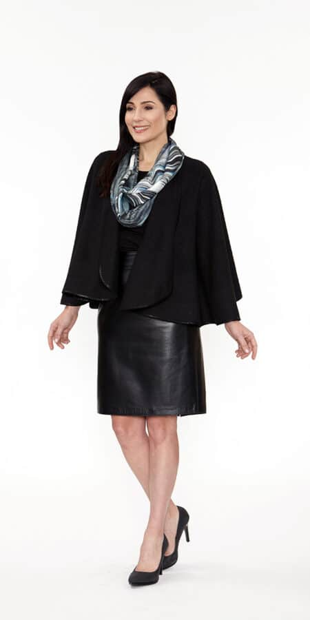 Black Caplet with Suede Binding Trim