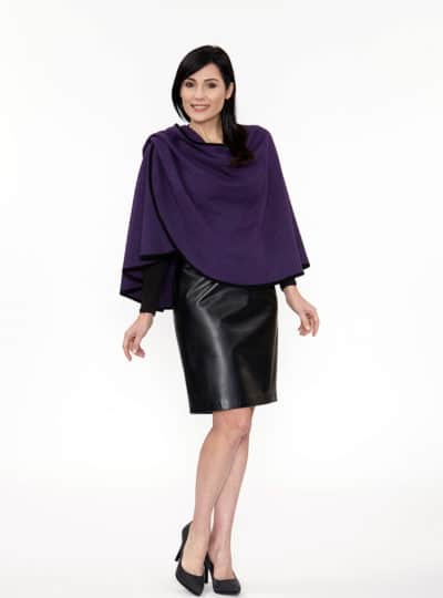 Purple Caplet with Suede Binding Trim