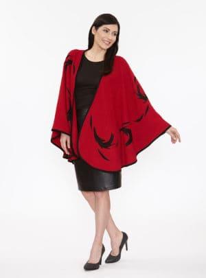 Red Wool Flinging Cape