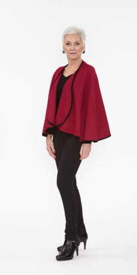 Deep Fushia Caplet with Suede Binding Trim