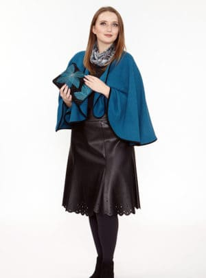 Teal Caplet with Suede Binding Trim