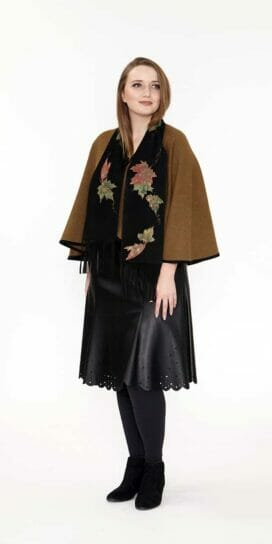 Dark Olive Caplet with Suede Binding Trim