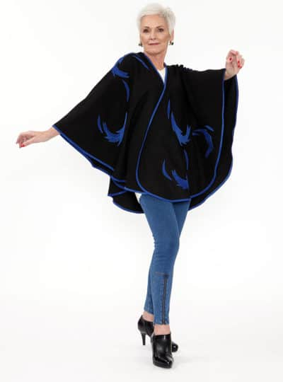 Black Wool Flinging Cape