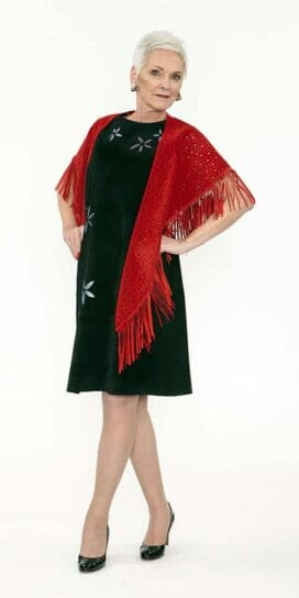 Red Circle Shawl Genuine Suede with Hand Cut Dots