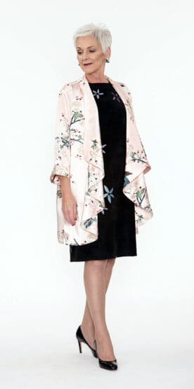 Draped 100% Silk Jacket Pink Apple Blossoms