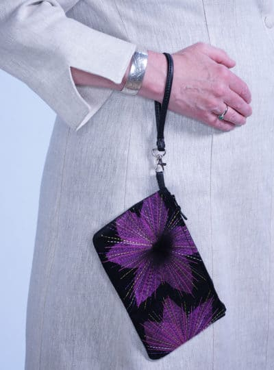 Organza Lily Suede Leather Wristlet