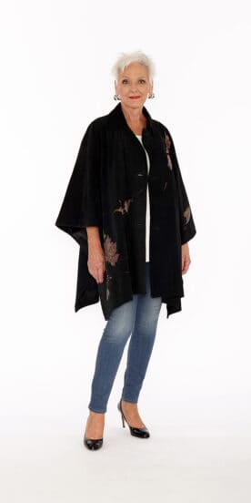 Genuine Black Suede Point Cape