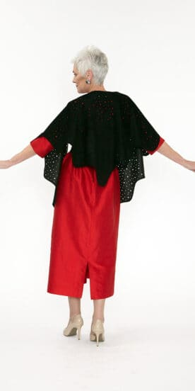 Black Circle Shawl Genuine Suede with Hand Cut Dots