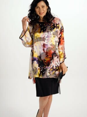 Silk Drop Shoulder Loose Top in Star Burst Pattern