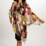 Silk Poncho Top In Starburst Pattern